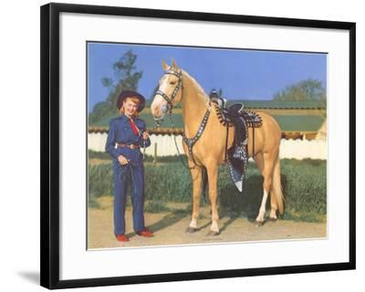 Cowgirl in Blue with Palomino--Framed Art Print