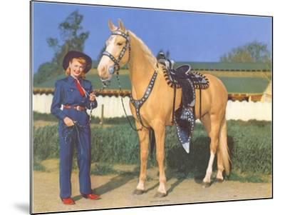 Cowgirl in Blue with Palomino--Mounted Art Print