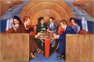 Playing Cards on Board the Plane--Stretched Canvas Print