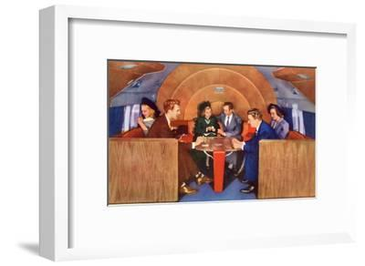 Playing Cards on Board the Plane--Framed Art Print