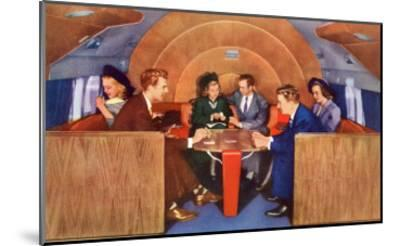 Playing Cards on Board the Plane--Mounted Art Print
