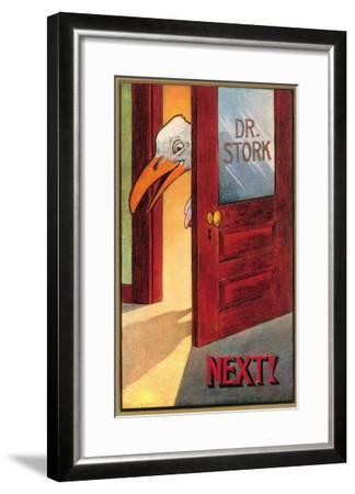 Dr. Stork, Next!--Framed Art Print