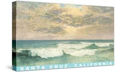 Waves under Mottled Sky, Santa Cruz, California--Stretched Canvas Print