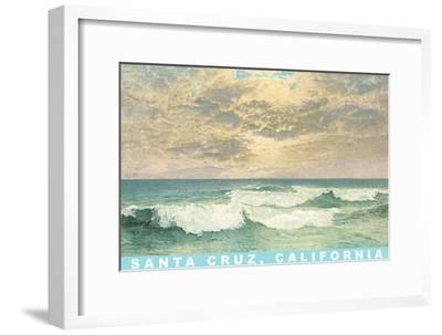 Waves under Mottled Sky, Santa Cruz, California--Framed Art Print