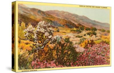 Chollas and Wildflowers, Borrego Springs, California--Stretched Canvas Print