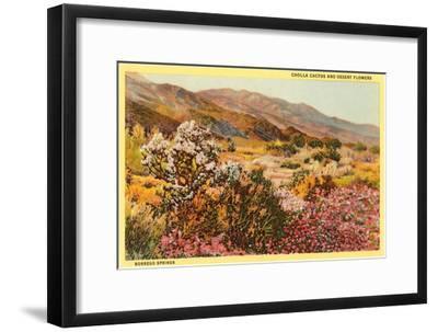 Chollas and Wildflowers, Borrego Springs, California--Framed Art Print