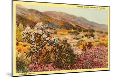 Chollas and Wildflowers, Borrego Springs, California--Mounted Art Print