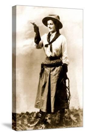 Cowgirl Pointing Gun--Stretched Canvas Print