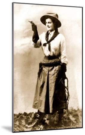 Cowgirl Pointing Gun--Mounted Art Print