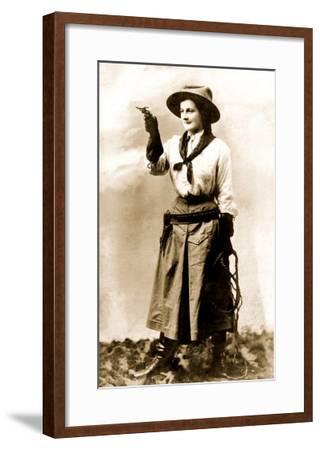 Cowgirl Pointing Gun--Framed Art Print