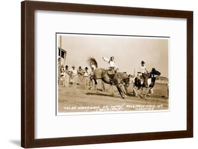 Woman Bronco Rider--Framed Art Print