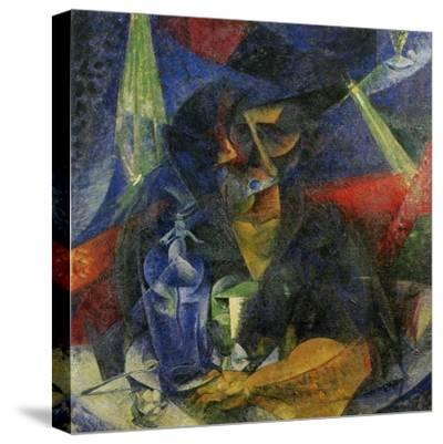 Woman in a Cafe: Compentrations of Lights and Planes-Umberto Boccioni-Stretched Canvas Print