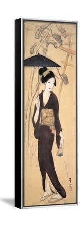 Visiting the Shrine at Inariyama, Japan-Yumeji Takehisa-Framed Stretched Canvas Print