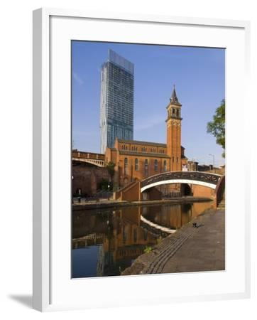 301 Deansgate, St. George's Church, Castlefield Canal, Manchester, England, United Kingdom, Europe-Charles Bowman-Framed Photographic Print
