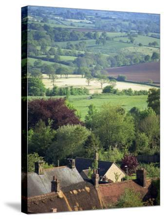 Roofs of Houses in Shaftesbury and Typical Patchwork Fields Beyond, Dorset, England, United Kingdom-Julia Bayne-Stretched Canvas Print