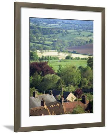 Roofs of Houses in Shaftesbury and Typical Patchwork Fields Beyond, Dorset, England, United Kingdom-Julia Bayne-Framed Photographic Print