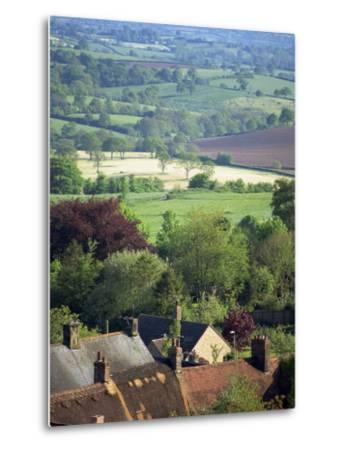 Roofs of Houses in Shaftesbury and Typical Patchwork Fields Beyond, Dorset, England, United Kingdom-Julia Bayne-Metal Print