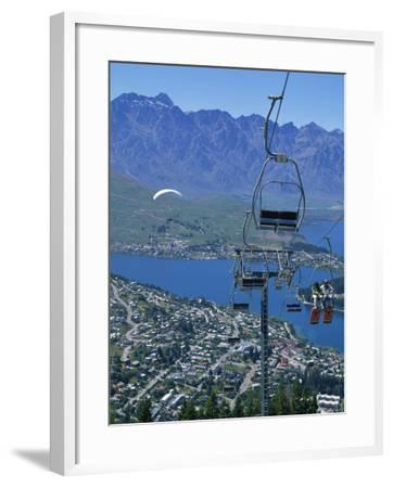 Chair Lift with Lake Wakatipu, the Remarkable Mountains and Queenstown, South Island, New Zealand-Jeremy Bright-Framed Photographic Print