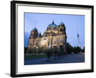 Berliner Dom Cathedral at Dusk with Fernsehturm, Telespargel Beyond, Berlin, Germany-Martin Child-Framed Photographic Print
