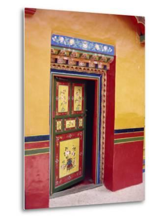 Traditional Painted Door in the Summer Palace of the Dalai Lama, Norbulingka, Lhasa, Tibet, China-Gina Corrigan-Metal Print