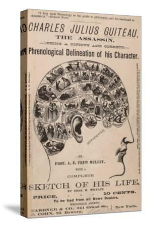 Phrenological Chart of the Brain of Charles J. Guiteau, Assassin of President James Garfield, 1880s--Stretched Canvas Print