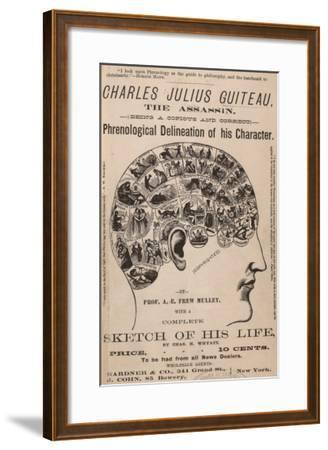 Phrenological Chart of the Brain of Charles J. Guiteau, Assassin of President James Garfield, 1880s--Framed Photo