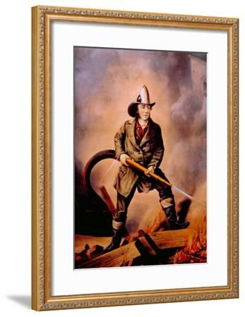 The American Fireman: Facing the Enemy, 1858-Currier & Ives-Framed Photo