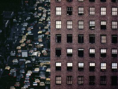 1970s America, Traffic on 6th Avenue Near 42nd Street. Manhattan, New York City, 1972--Stretched Canvas Print