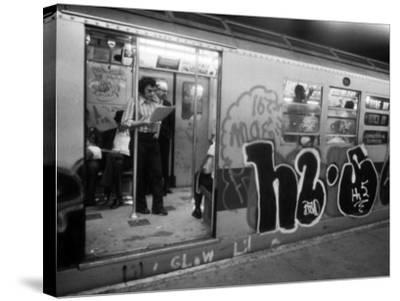 1970s America, Graffiti on a Subway Car on the Lexington Avenue Line. New York City, New York, 1972--Stretched Canvas Print