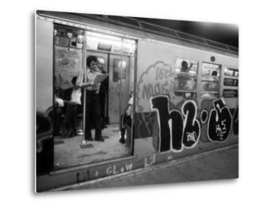1970s America, Graffiti on a Subway Car on the Lexington Avenue Line. New York City, New York, 1972--Metal Print