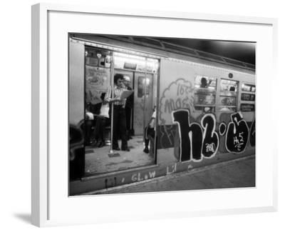 1970s America, Graffiti on a Subway Car on the Lexington Avenue Line. New York City, New York, 1972--Framed Photo