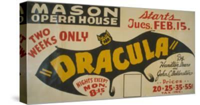 Federal Theatre Project Presentation of Dracula at the Mason Opera House, Showing a Large Bat, 1938--Stretched Canvas Print