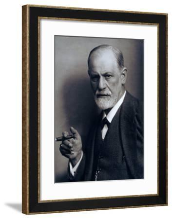 Sigmund Freud Smoking Cigar in a Classic Early 1920s Portrait--Framed Photo