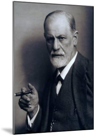 Sigmund Freud Smoking Cigar in a Classic Early 1920s Portrait--Mounted Photo