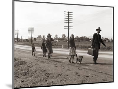 Homeless Migrant Family of Seven, Walking the Highway from Phoenix, Arizona, 1939-Dorothea Lange-Mounted Photo
