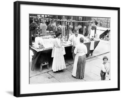 Little Italy, Vendor with Wares Displayed During a Festival, New York, 1930s--Framed Photo