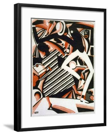 Drawing in Two Colors, or Interpretation of Harlem Jazz, Painting by Winold Reiss, 1915-1920--Framed Photo