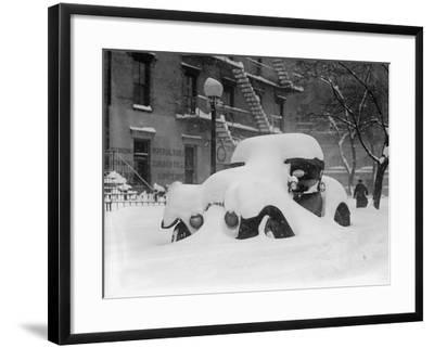 1920's Model Car Is Covered with Snow after a January 1922 Blizzard in Washington, D.C--Framed Photo