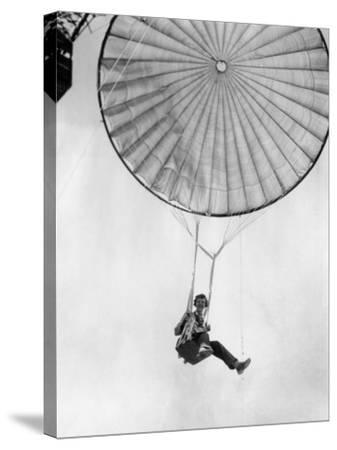 Amelia Earhart Helps Test a Commercial Parachute. June 2, 1935--Stretched Canvas Print