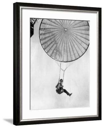 Amelia Earhart Helps Test a Commercial Parachute. June 2, 1935--Framed Photo