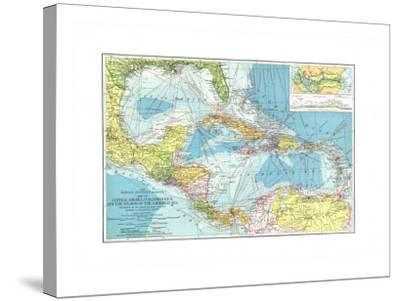 1913 Central America, Cuba, Porto Rico, and the Islands of the Caribbean Sea-National Geographic Maps-Stretched Canvas Print
