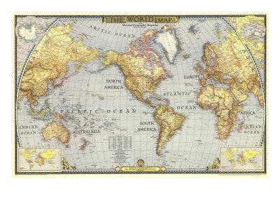 1943 World Map-National Geographic Maps-Framed Premium Giclee Print