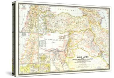 1946 Bible Lands, and the Cradle of Western Civilization Map-National Geographic Maps-Stretched Canvas Print