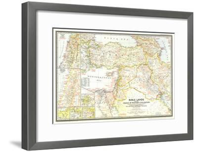 1946 Bible Lands, and the Cradle of Western Civilization Map-National Geographic Maps-Framed Art Print
