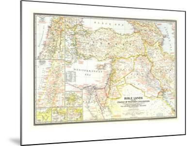 1946 Bible Lands, and the Cradle of Western Civilization Map-National Geographic Maps-Mounted Art Print