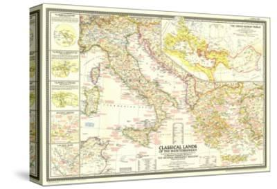 1949 Classical Lands of the Mediterranean Map-National Geographic Maps-Stretched Canvas Print