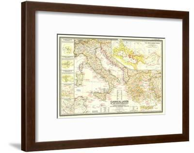 1949 Classical Lands of the Mediterranean Map-National Geographic Maps-Framed Art Print