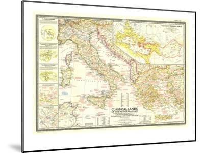 1949 Classical Lands of the Mediterranean Map-National Geographic Maps-Mounted Art Print
