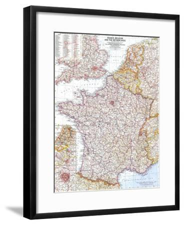 1960 France, Belgium and the Netherlands Map-National Geographic Maps-Framed Art Print