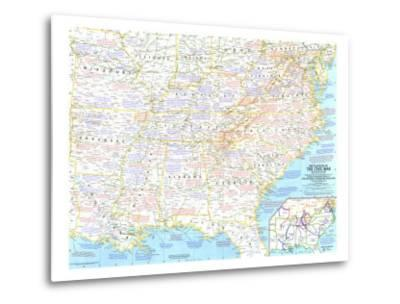 1961 Battlefields of the Civil War Map-National Geographic Maps-Metal Print